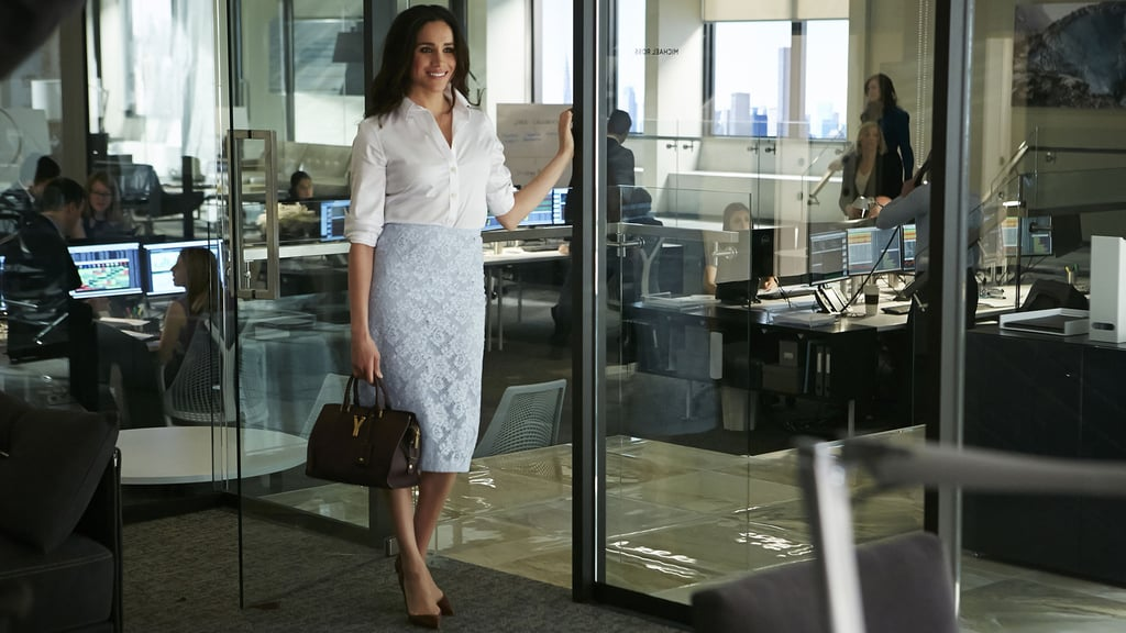 The foundation of every Rachel outfit is a flattering high-waisted pencil skirt, whether she opts for a pop of color or sticks to classic black. Rachel usually pairs her skirts with a relaxed, loose top, like her go-to white button-down or a silky fitted blouse.