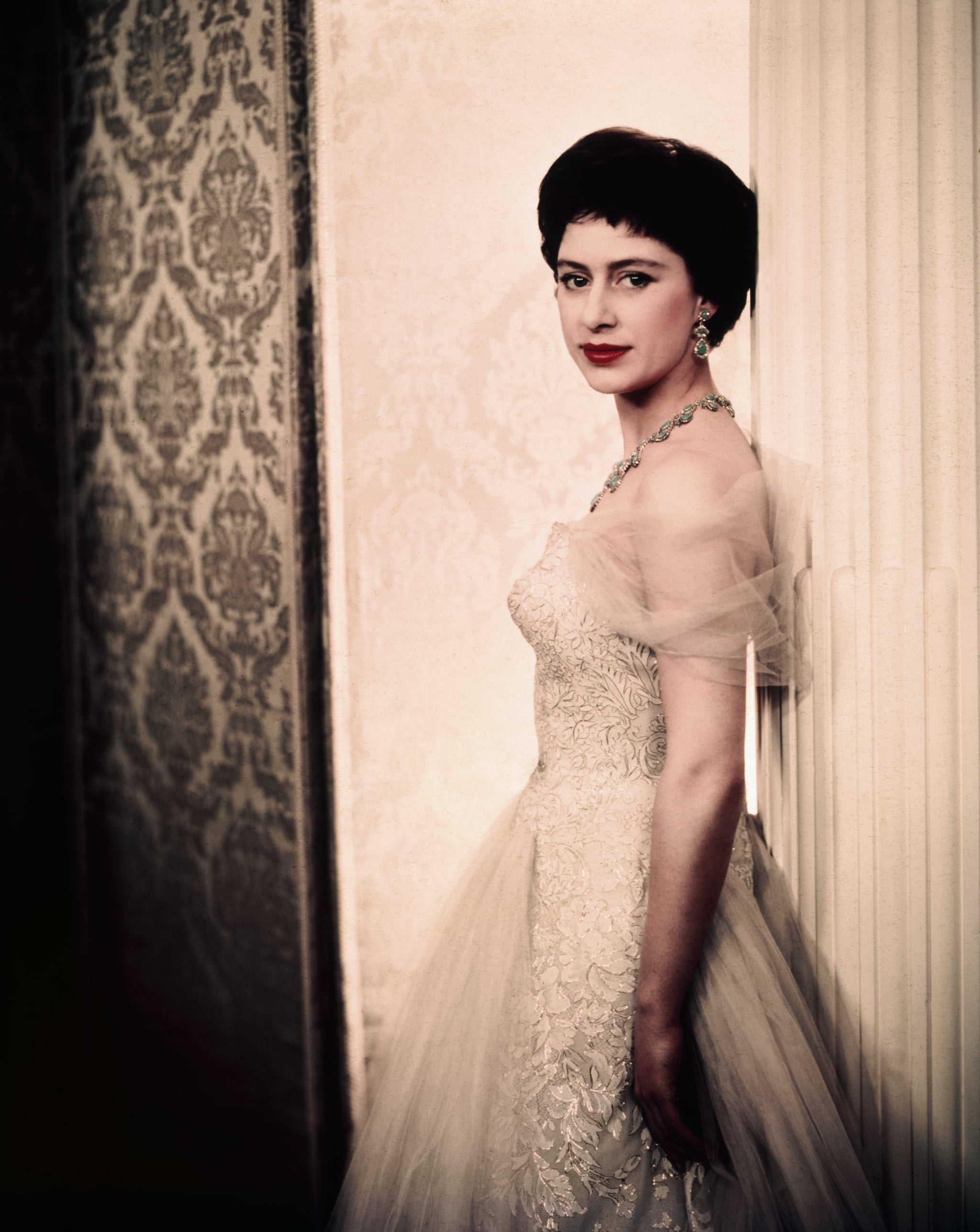4/14/1958- Princess Margaret of England, closeup portrait for release. UPI colour slide.