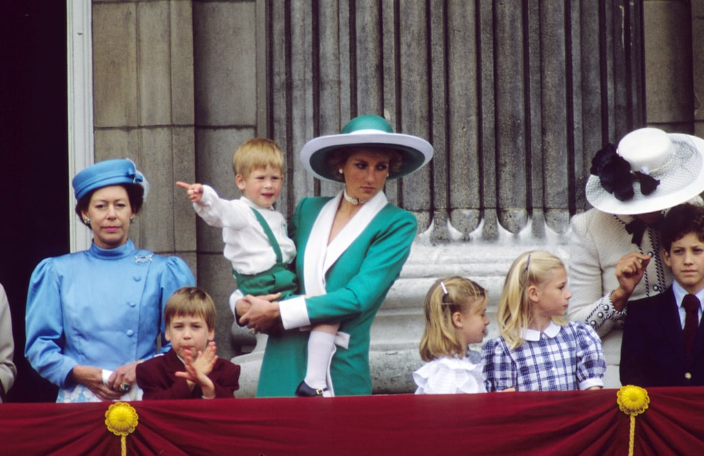 Princess Margaret, Prince William, Princess Diana, and an adorable Prince Harry stood on the balcony of Buckingham Palace following the Trooping the Colour on June 1, 1988.