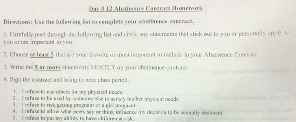 This High School Sex Ed Class Gave Students Abstinence-Only Contracts