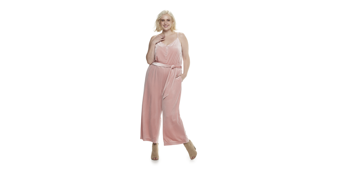 Velvet Wide-Leg Jumpsuit In Bridal Rose