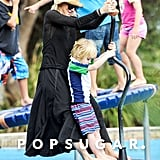 Naomi Watts had a special moment with her son Samuel on the playground.