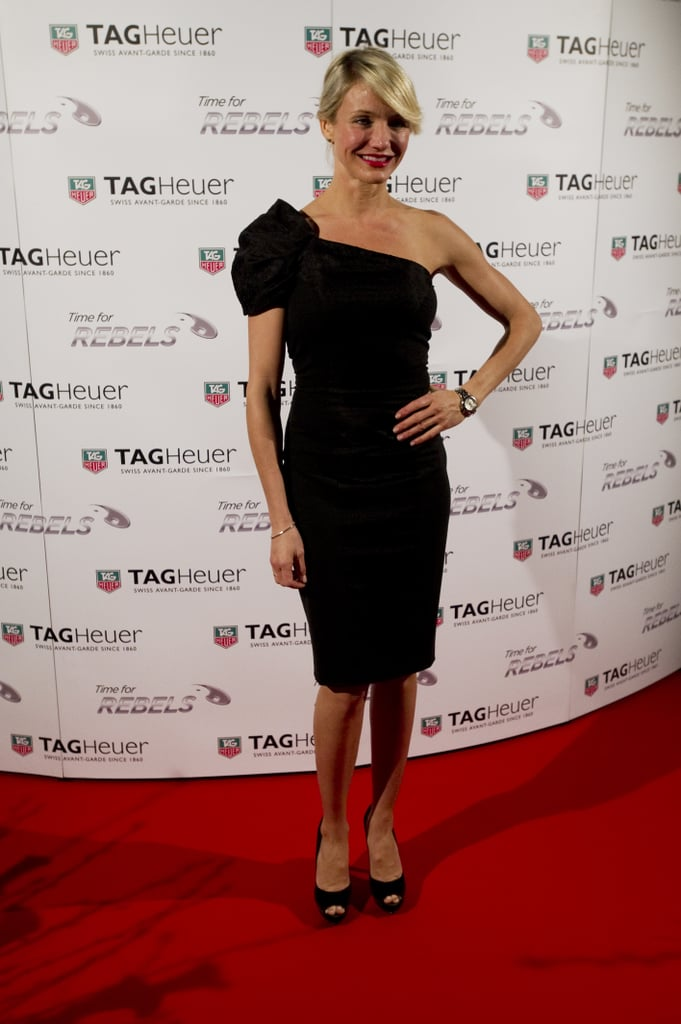"""Cameron Diaz wore a LBD and a big Tag Heuer watch to an event in Switzerland last night. She hit the red carpet during a Tag Heuer event during the Baselworld watch and jewelry fair in the city of Basel. Cameron is one of the brand's celebrity ambassadors, having announced a deal with Tag Heuer last year during June. She's also the muse for their new Link Lady collection. In a press release, Cameron spoke about the link lady timepiece, saying she's """"equally comfortable wearing it on the red carpet or in my day-to-day life."""" Cameron rocks a different accessory —a baby bump —in the new What to Expect When You're Expecting trailer. Her character, a mother-to-be, is seen rushing into the delivery room with her husband, who's played by Matthew Morrison."""