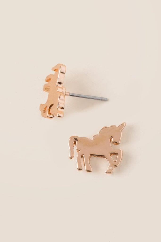 Unicorn Stud Earring In Rose Gold