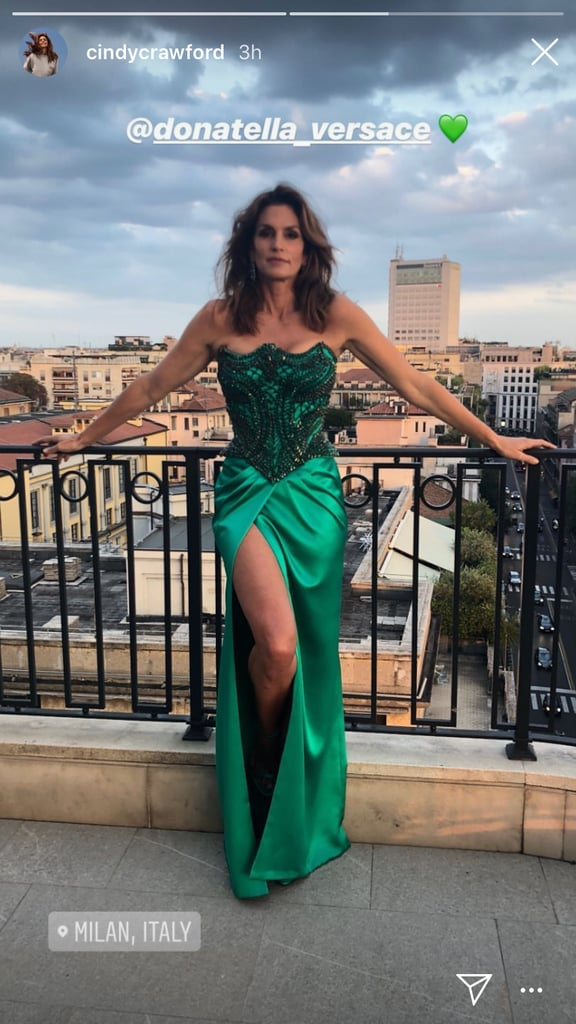 Cindy Crawford Posed on the Balcony in Her Versace Dress