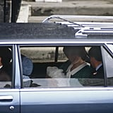 Princess Diana held baby William in the back seat of a vehicle as they left the hospital in 1982.