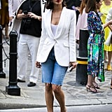 Button a Blazer Over Denim Bermudas and Finish With Bejeweled Sandals