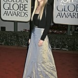 Mixing up an iridescent maxi skirt and a sweater set at the 1999 Golden Globes.