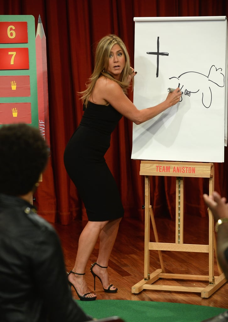 Jennifer Aniston played Pictionary with Lenny Kravitz and CeeLo Green.