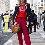 Red Street Style Trend at Fashion Week Fall 2017