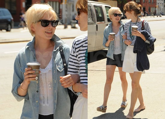 Pictures of michelle williams walking in nyc with her blonder pictures of michelle williams walking in nyc with her blonder shorter haircut popsugar celebrity urmus Choice Image
