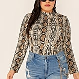 Shein Snakeskin Print Mock-neck Top