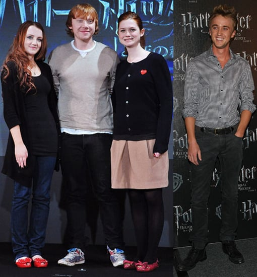 Rupert Grint, Bonnie Wright, Evanna Lynch in Japan, Tom Felton in Mexico For Harry Potter and the Deathly Hallows