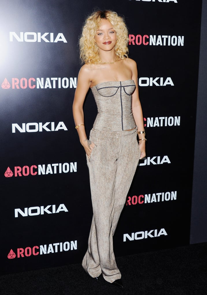 Looking posed and polished in a printed bustier and matching trousers, both by Bottega Veneta, the singer was ready to let her hair down at Roc Nation's pre-Grammy brunch in February 2012.