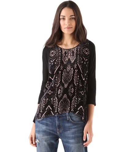 Pair this Rebecca Taylor Snake Burnout Top ($250) with waxed skinnies and pointed-toe pumps for textural contrast.