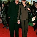 Julia somehow made brown suit separates look fabulous with a pair of sunglasses on the red carpet in 1998, where she posed with My Best Friend's Wedding costar Rupert Everett.