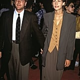 Julia took a style note from the boys yet again at the Young Guns II Hollywood premiere in 1990, though she finished her sleeveless vest and blazer with a maxi skirt.