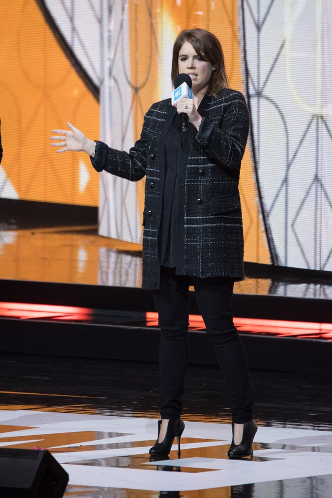 Princess Eugenie proves that the style of heel is versatile and can be dressed for daytime too. She paired them with black skinny jeans and a Zara tweed coat while speaking at the We Day UK event.
