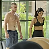 Ryan (Jake McLaughlin) refuses to let anyone steal his shirtless spotlight.