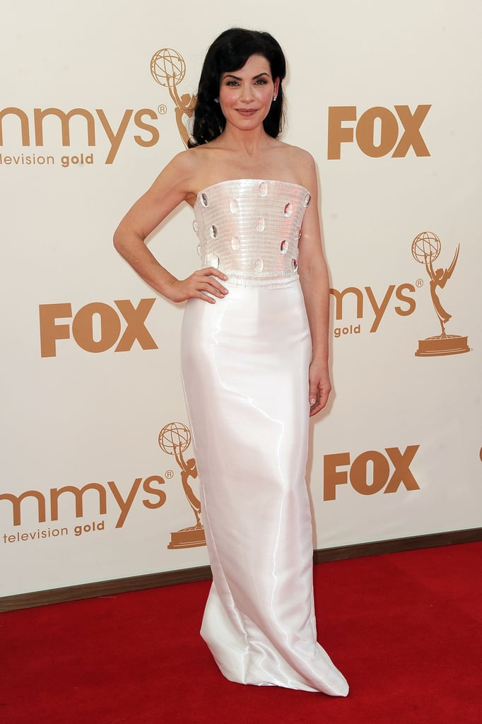 Julianna Margulies in white at the Emmys.