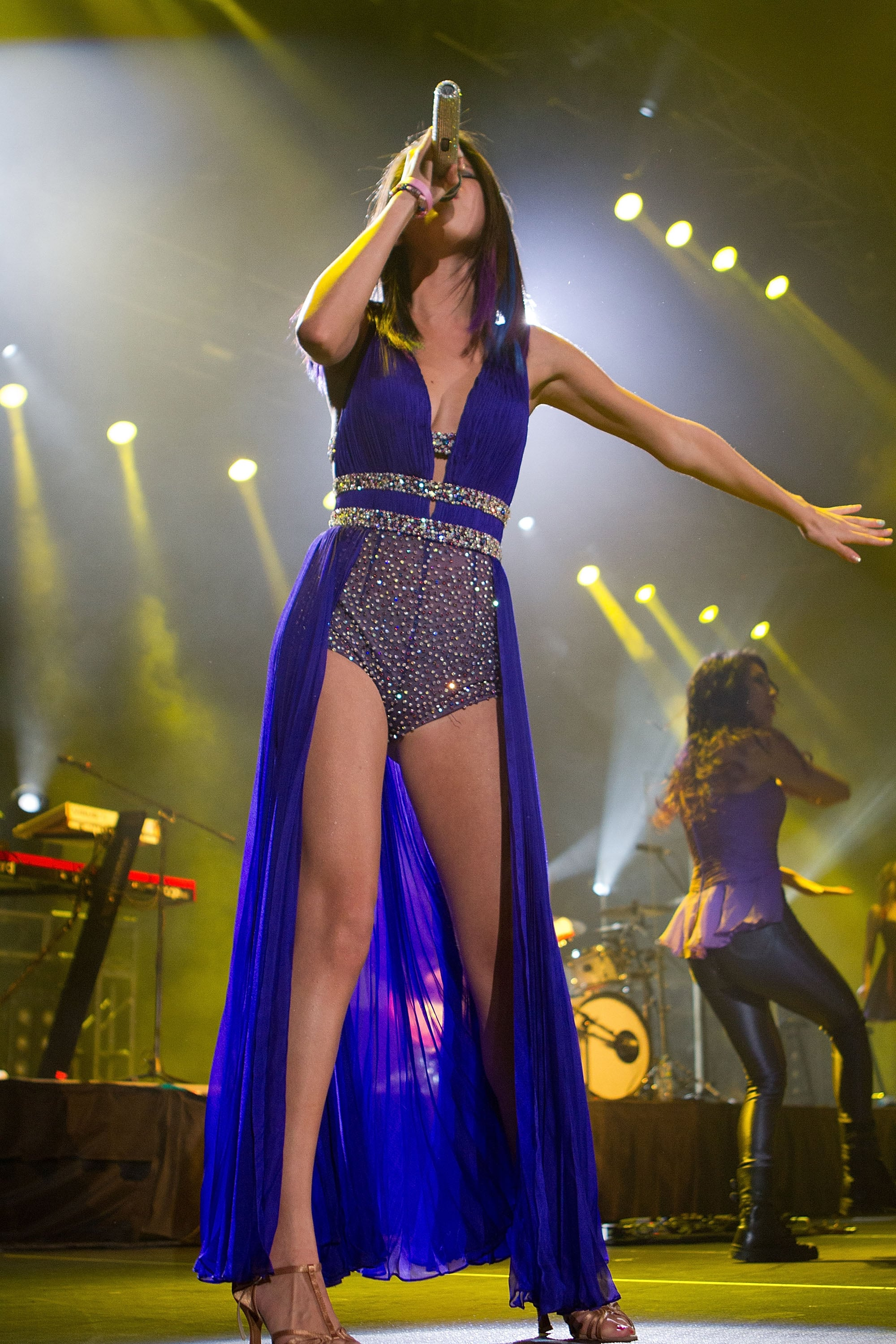 Selena performed a show in Mexico in a statement-making beaded short suit in 2012.