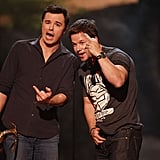Seth MacFarlane and Mark Wahlberg flipped the bird in 2013.