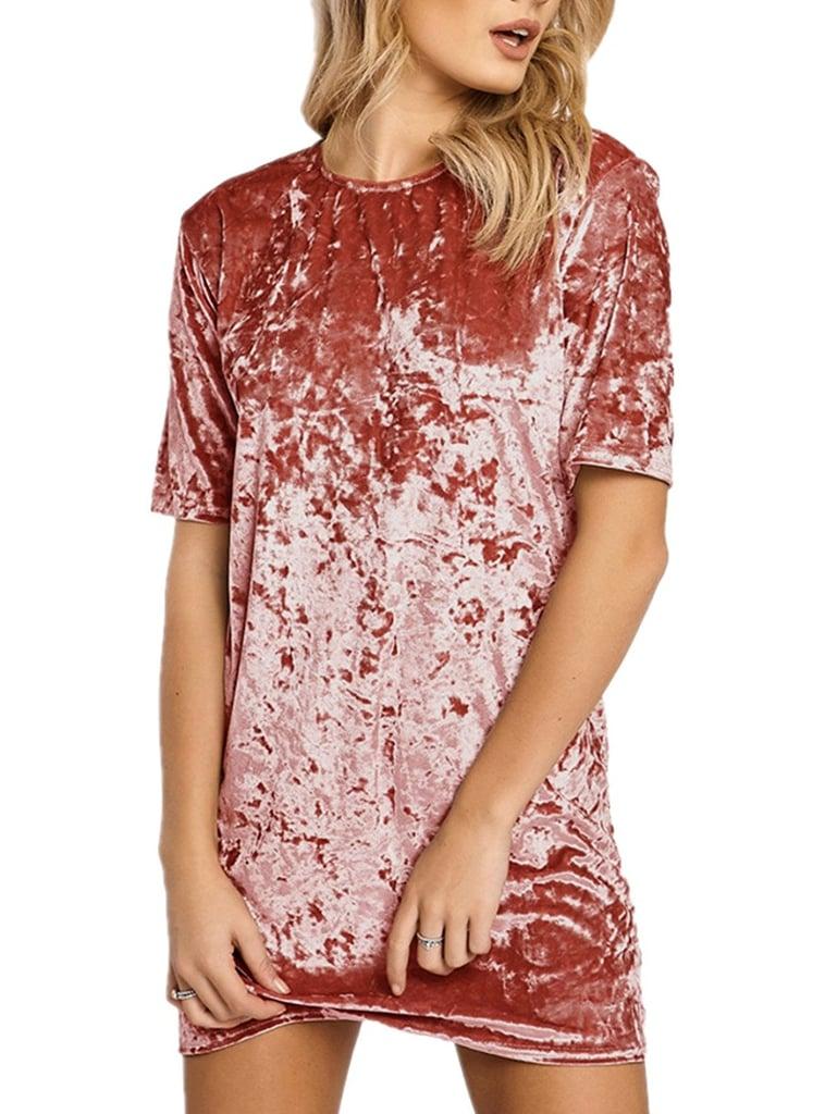 Hikare Crushed Velvet Short-Sleeve T-Shirt Dress