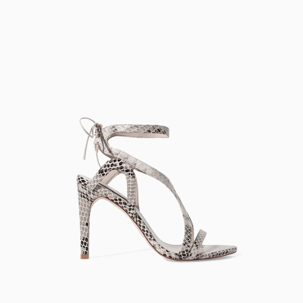 Zara High Heel Snake Print Leather Sandal ($100)