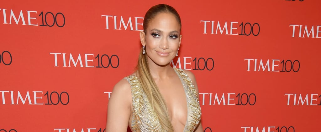 Jennifer Lopez Gold Zuhair Murad Dress at Time 100 Gala 2018