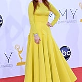 Julianne Moore, mom to Caleb and Liv, stepped out in yellow Dior for the Emmy Awards.