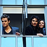 Nina Dobrev and Ian Somerhalder looked out a window with Paul Wesley during a cast trip to London in June 2010.
