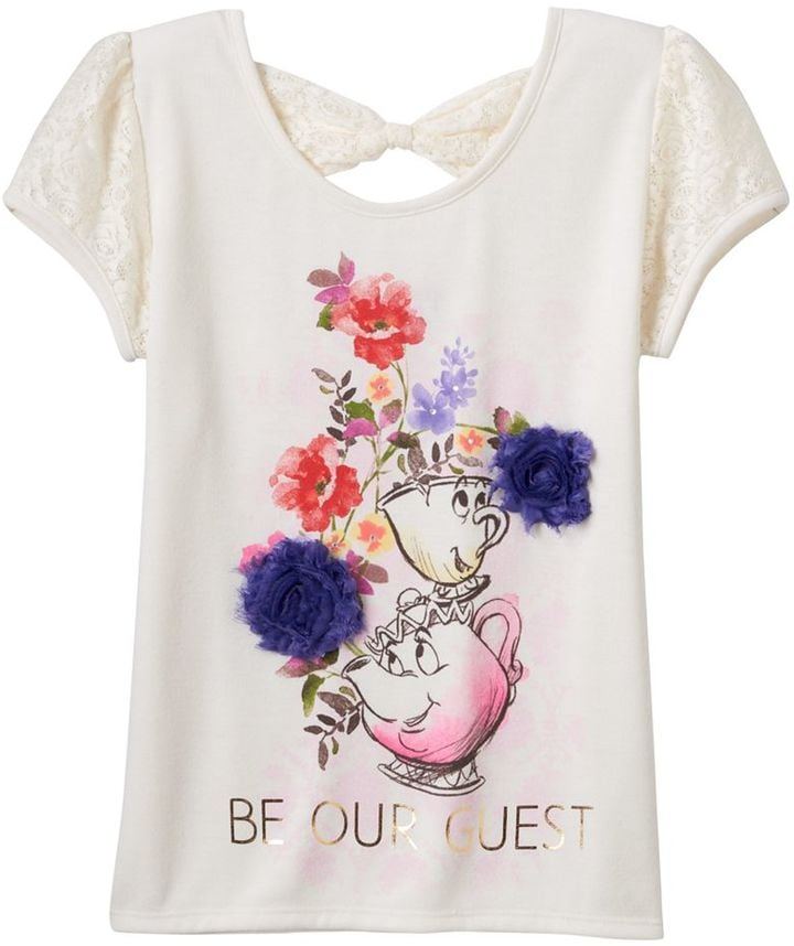 "Disney D-Signed Beauty and the Beast Girls Mrs. Potts & Chip ""Be Our Guest"" Hatchi Graphic Tee ($16, originally $24)"