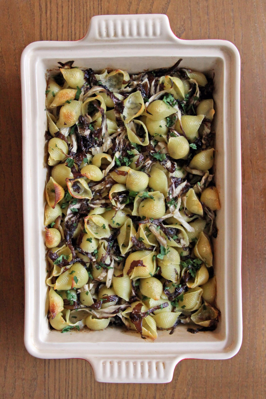 baked pasta with radicchio and mushrooms recipe popsugar food