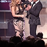 Moroccan Cannon wore a mini tux on stage at the BET Honors 2012 with dad Nick Cannon and mom Mariah Carey in Washington DC during January 2012.