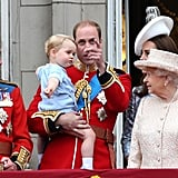 The queen with the first, second, and third in line to the throne at Trooping the Colour 2015.