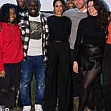 Meghan showed off a head-to-toe black outfit when she visited an underground music station in London. For the occasion, she wore a black Marks & Spencer sweater, black Burberry high-waisted flares, and Sarah Flint shoes.
