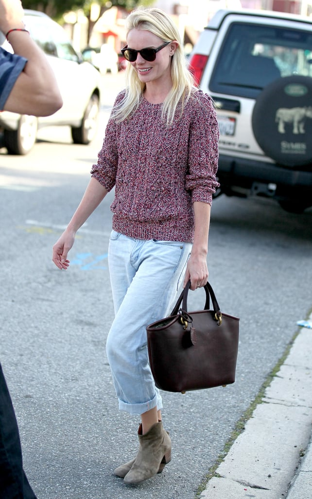 Kate Bosworth wore a familiar sweater in a new color yesterday to shop at LA's Opening Ceremony. The actress is back to enjoying the offerings of her favorite West Coast stores after a quick trip away admiring next season's fashion finery with front-row seats to runway shows in both New York and London. Her knowledge of style comes in handy when designing her line JewelMint — check out what she and business partner Cher Coulter told about their picks for Spring trends. It seems Kate and Cher's list of admirers continues to grow after Lauren Conrad picked up a necklace, as Isla Fisher wore one of their pieces during her recent appearance on Late Night With Jimmy Fallon.