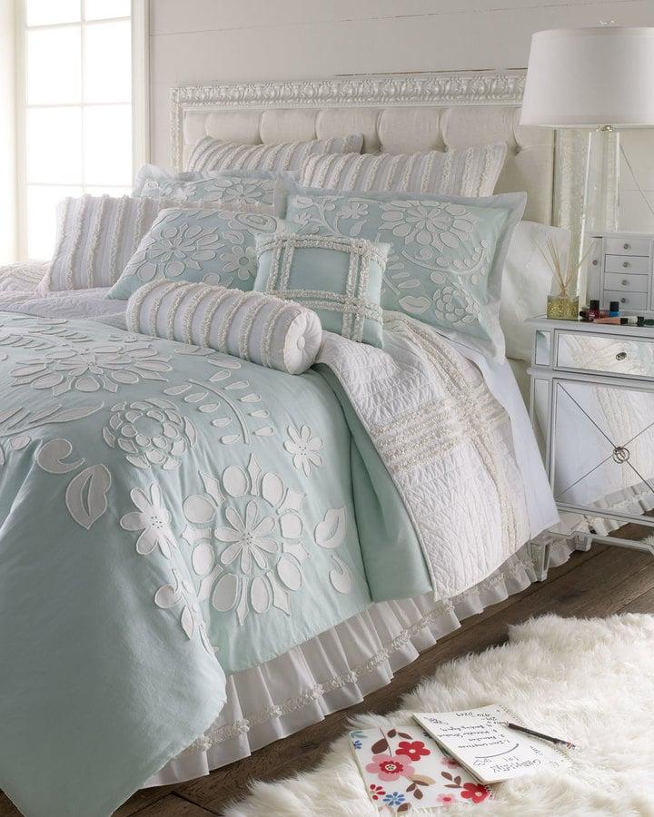 Aqua Comforter with Floral Applique ($190)