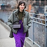 Winter Outfit Idea: A Puffer and Printed Midi Dress