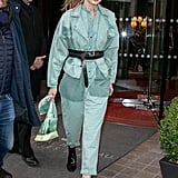 Gigi Hadid Wearing a Green Jumpsuit at PFW