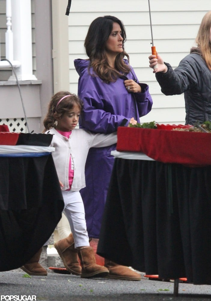 Salma Hayek and daughter Valentina Pinault hung out together on the Boston set of Grown Ups 2.