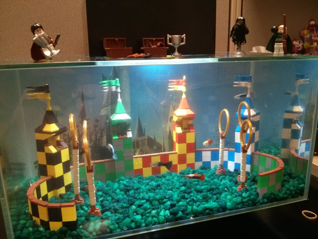 """My Lego Quidditch Aquarium at my Office"" Source: Reddit user kst8er via Imgur"