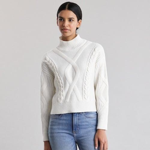 Elizabeth and James Cable-Knit Turtleneck Sweater