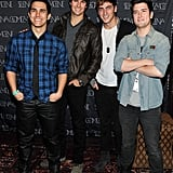 Big Time Rush arrived together and posed for a photo before the charity concert.