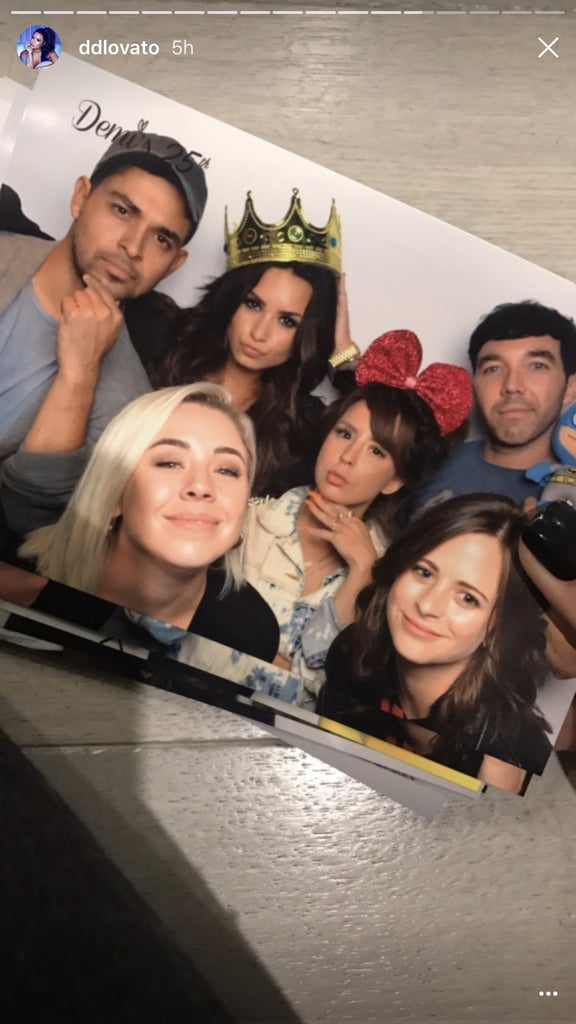 """Demi Lovato celebrated her 25th birthday at Dave and Busters in Hollywood surrounded by close friends and family. Among them? Ex-boyfriend Wilmer Valderrama.  The """"Sorry Not Sorry"""" singer posted a ton of snapshots to her Instagram Story from her arcade game-filled celebration, where she got silly wearing a crown and posed wearing a simple jeans and tee look. Demi obviously had a blast with everyone, making us superjealous of her night, but no more than when we saw her with Wilmer.    The couple, who dated for six years, broke up last Summer, but have remained close friends, posing for another adorable photo together in early June. Of their relationship, Demi has said: """"Being sick was always a part of my relationship with him; I always had something wrong with me. I needed to let go of that. It was hard to depart from somebody who saw everything, but it may be nice to start fresh with somebody.""""    Keep reading for more photos of Demi's celebration.      Related:                                                                                                           64 Sexy Pictures of Demi Lovato That Prove There's Nothing Wrong With Being Confident"""