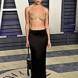 At the 2019 Vanity Fair Oscars Party, Zoë opted for a gold mesh Tiffany & Co. bra. (Yes, that's right!) She paired it with a low-slung, black Saint Laurent skirt that swept the ground.