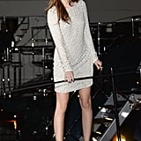 Barbara Palvin was all smiles in her embellished minidress on her way to the Roberto Cavalli yacht party.