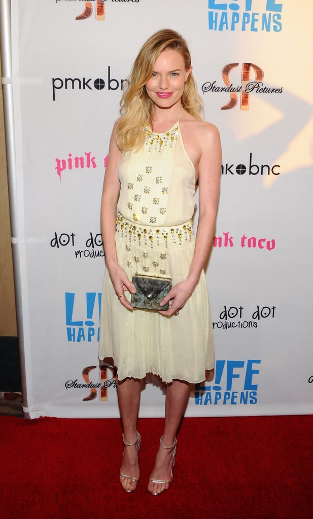 Kate Bosworth dressed up for the LA premiere of L!fe Happens, formerly known as BFF and Baby, last night at the AMC Theater in Century City. She had the company of costar Krysten Ritter, who also wrote the film, on the carpet. Krysten had lots of support as well — her costars from Don't Trust the B---- in Apt 23, including James Van Der Beek and Dreama Walker. Kate had the help of her stylist Cher Coulter and makeup artist Kate Lee in prepping for the cameras. Cher helped Kate pick out the yellow gown, which was from Prada. Kate's boyfriend Michael Polish wasn't able to attend the screening. She tweeted over the weekend that he's been busy putting the finishing touches on the movie which brought them together, Big Sur.