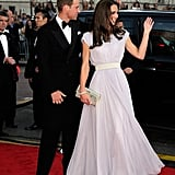 """For her American tour, Kate packed the McQueen, too! It was a pale lavender dress for the BAFTA's """"Brits to Watch"""" event in Los Angeles."""
