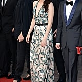 Kristen Stewart wore a printed gown with a plunging neckline to the On the Road premiere in Cannes.